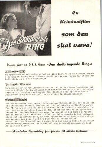 Alarm Karl Martell, Mária Tasnádi Fekete 1941 1 Page Danish Movie Press Release