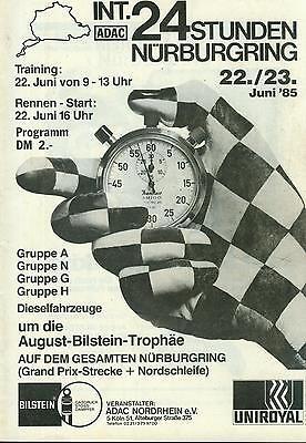 1985 Programm ADAC 24h Stunden Rennen Nuerburgring Winner Budde BMW 635 Felder