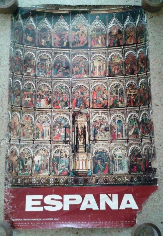 Vintage travel poster Salamanca altarpiece Spain Old Cathedral Catholic church
