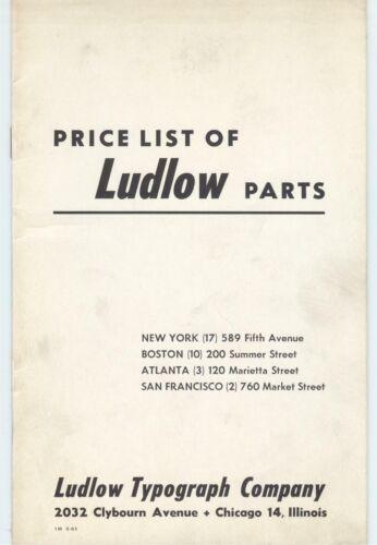 1961 Ludlow Type Setting machine hot type parts list; typesetting, letterpress