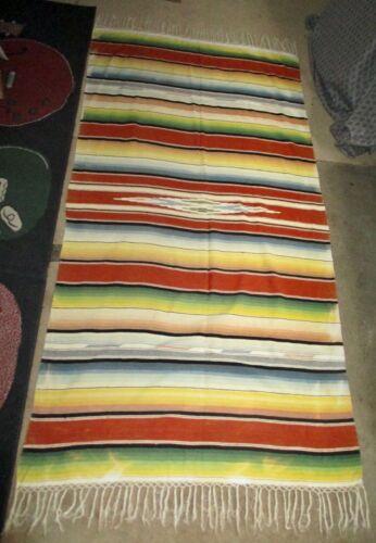 Antique Serape Saltillo Wool Colorful Rug Blanket Mexican Folk Art Vintage 82x38