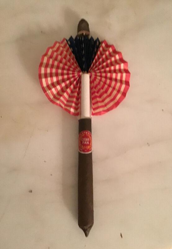 Vintage Cigar Fan - American flag - Nice & Crisp!