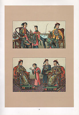 Vintage Mode Kostüm Aufdruck ~ China The Imperial Court Niutze Prinzessin Kaiser