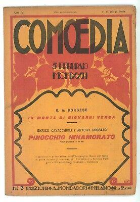COMOEDIA NUM. 3 1922 BORGESE MORTE GIOVANNI VERGA CAVACCHIOLI ENRICO PINOCCHIO