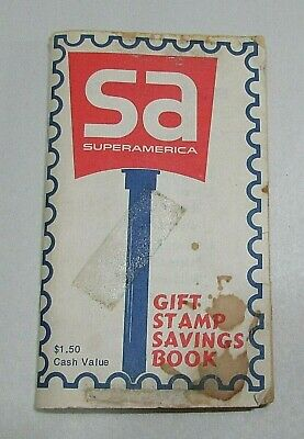 Empty Vintage Super America SA Old Gas Station Gift Stamp 3x5 Booklet FREE S/H