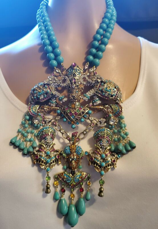 """Heidi Daus """"Court of Critters"""" Crystal Beaded Bib Necklace  Ret: $394.25"""