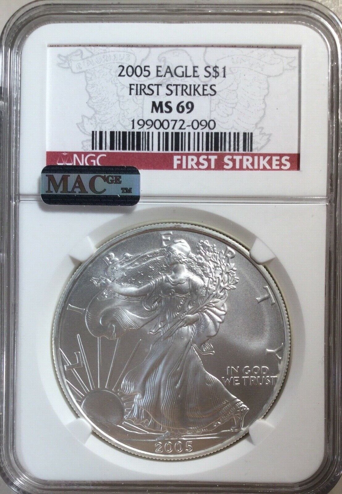 2005 FIRST STRIKES Silver American Eagle NGC MS69. Spot Free SPOTLESS MAC 058 - $67.00