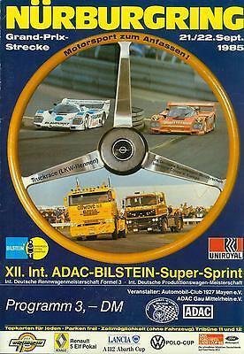 Programm DTM 1985 Bilstein Super Sprint Nürburgring Interserie VW Polo Corsa Cup