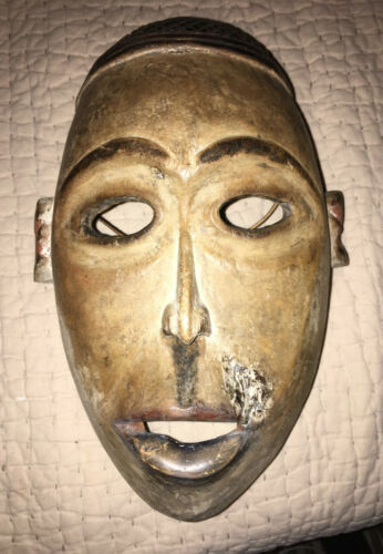Vintage HAND-CARVED Wooden with Pigment YOMBE MASK Congo AFRICAN ART Very Large!