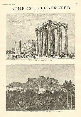 Athens, Greece, Acropolis, City Views, 4pgs. Vintage 1886 Antique Print Acropolis View Athens Greece