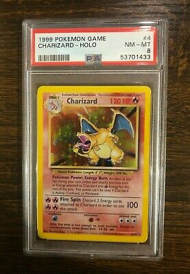 PSA 8 Charizard Base Set 4/102 Unlimited Rare Holo 1999 Pokemon Card NM/Mint