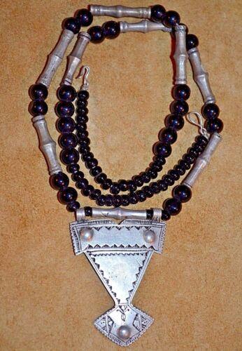 Antique Nomadic Tuareg Tribal Silver Berber Amulet Pendant Necklace Niger Africa