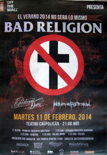 BAD RELIGION / PARKWAY DRIVE 2014 LARGE SANTIAGO, CHILE CONCERT TOUR POSTER-Punk