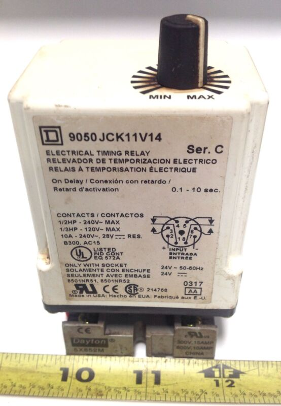 SQUARE D TIMING RELAY SER.C 9050 JCK11V14