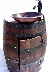 Attractive RUSTIC FRENCH WINE BARREL BATHROOM VANITY WITH 2 OPTIONAL SINK FAUCET  FIXTURES