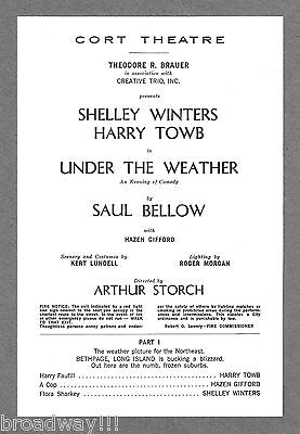 "Shelley Winters ""UNDER THE WEATHER"" Harry Taub 1966 FLOP Preview Playbill"