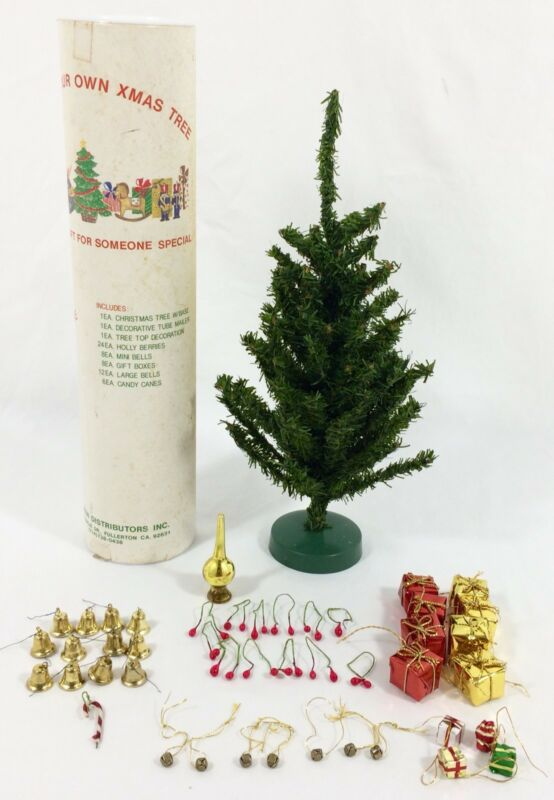 "Vtg Feather Christmas Tree w/ Mini Ornaments 12"" Tall In Mailer Tube Taiwan RARE"