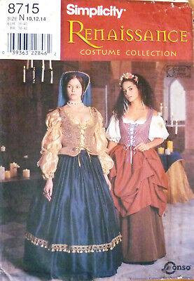 Renaissance Blouse Pattern (Simplicity 8715 Renaissance costume pattern 10-12-14, blouse, corset, skirt,)