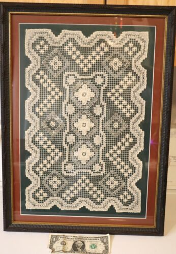 Framed Intricate Antique Handmade Crochet White Lace Placemat Geometric Design