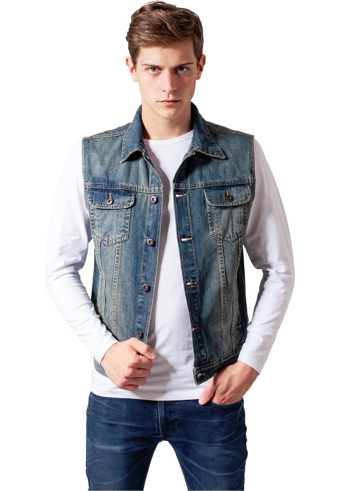 urban classics herren denim weste jeansweste jeans jeansjacke jacke schwarz blau ebay. Black Bedroom Furniture Sets. Home Design Ideas