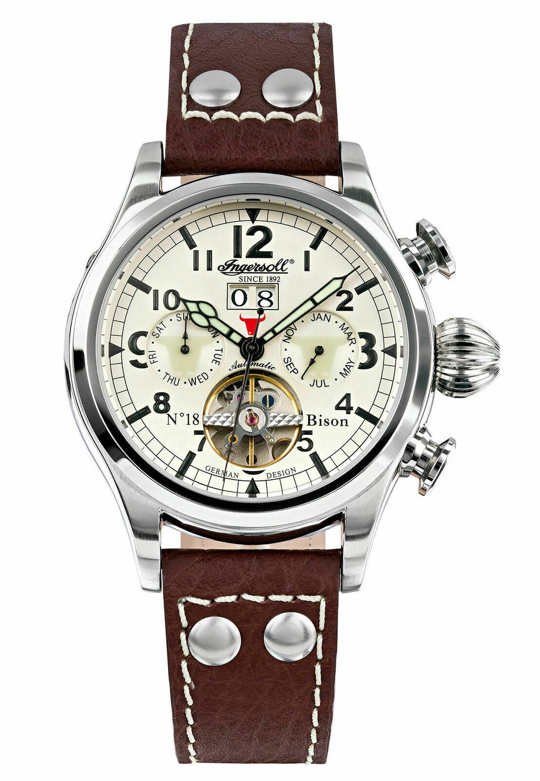 INGERSOLL WATCH BISON NO18 IN4506CH BROWN LEATHER AUTOMATIC  GENUINE 35 JEWELS