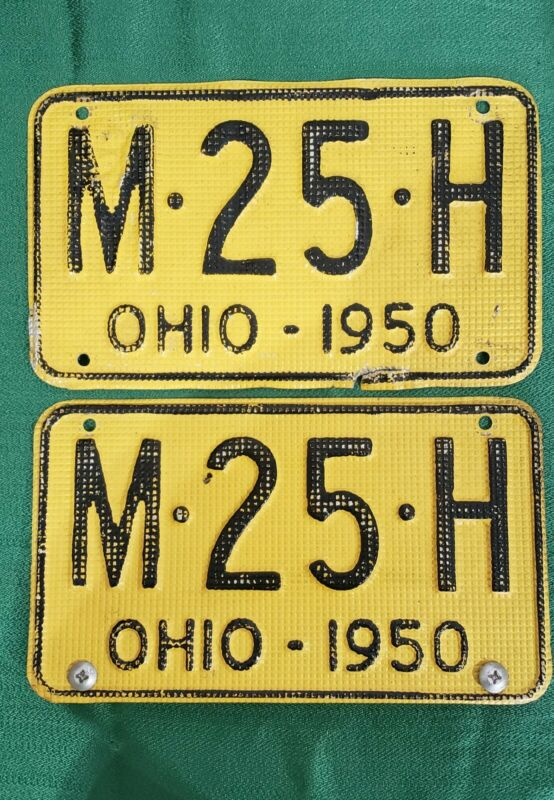 PAIR 1950 OHIO WAFFLE TEXTURED LICENSE PLATES