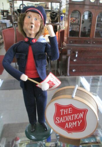"""Byers Choice The Carolers 1996 Salvation Army Man w- Drum & Tag 13 1/2"""" signed"""