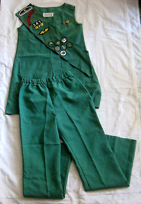 Girl Scout 1973-1985 3-Piece JUNIOR UNIFORM Jumper Pants Sash HALLOWEEN COSTUME - Girl Scout Uniform Costume