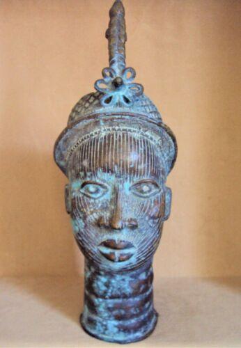 "ANTIQUE 22"" BRONZE BENIN IFE KING African Carving RARE!!"