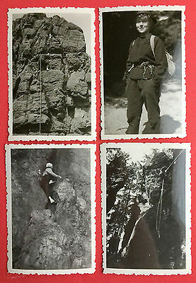 4 x Foto Sächsische Schweiz Kletterei Bergsteiger am Spitzstein von 1959  ( 8491
