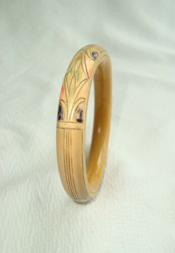 French Art Deco Carved & Painted Celluloid Bracelet Egyptian Revival