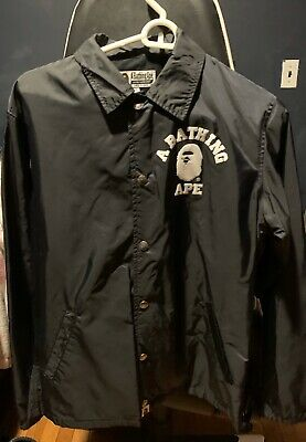 "A Bathing Ape ""BAPE College Coach Jacket"" Size Small(Black)"
