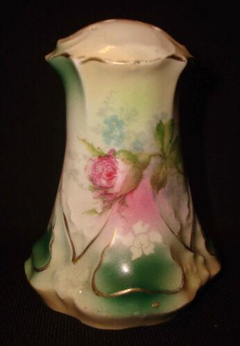Vintage RS Prussia Rose Bud Flower Porcelain Molded Relief Salt or Pepper Shaker