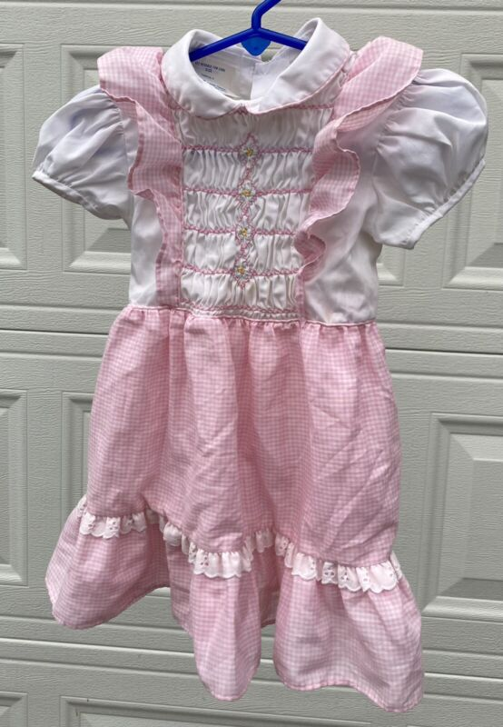 Vintage Princess Anne Pink Gingham SS Dress Hand Smocked Apron Style Size 4T