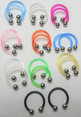 Bioplast Flexible Metal Sensitive Allergy Hoops Rings Horseshoes Steel Balls 16G (Nose Ring Sensitive)