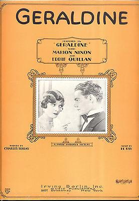 """GERALDINE Sheet Music """"Geraldine"""" Marion Nixon Eddie Quillan"""