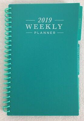 2019 Weekly Monthly Spiral Planner Calendar Organizer Agenda Green 5 X 8