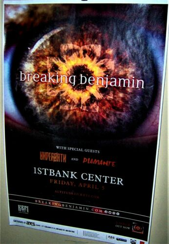 BREAKING BENJAMIN in Concert Show Poster Denver Co April 5th 2019 1st Bank COOL