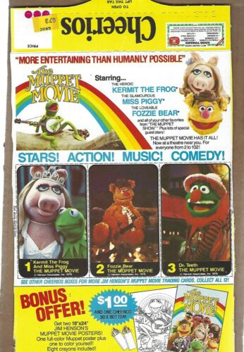 CHEERIOS  CEREAL  BACK  PANEL  MUPPET  MOVIE  ADVERTISEMENT