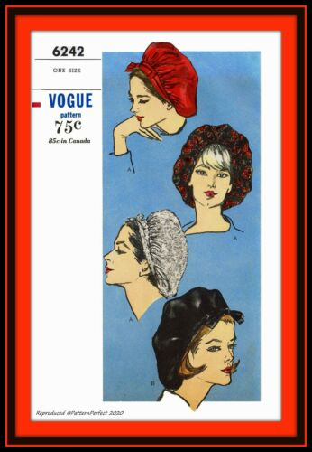 SNOOD Beret Soft Gathered Hat Vogue 6242 Vintage 1964 Fabric Sewing Pattern