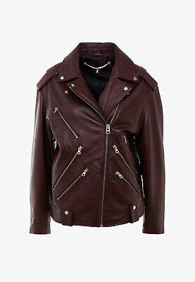 McQ Alexander McQueen Women's Leather Biker Jacket Cherry 44