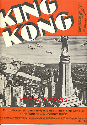 KING KONG Sheet Music 1933 Fay Wray Empire State Building SWEDISH RARE