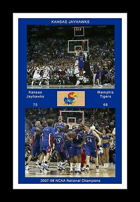 Kansas Jayhawks Mat - KANSAS JAYHAWKS 2008 FINAL FOUR MARIO CHALMERS SHOT & CELEBRATION MATTED PIC #2