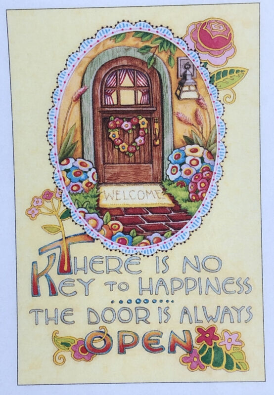 Mary Engelbreit Handmade Magnet-There is No Key To Happiness