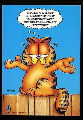 Comics postcard Garfield Cat Jim Davis WW Dutch Sitting on support oneself discourage