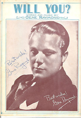 "GENE RAYMOND Newspaper Music ""Will You?"" AUTOGRAPHED & WRITTEN BY Gene Raymond"