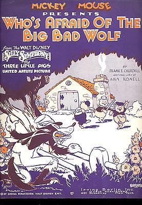 """Dolt SYMPHONY Sheet Music """"Who's Afraid Of The Big Bad Wolf?"""" Disney Animation"""