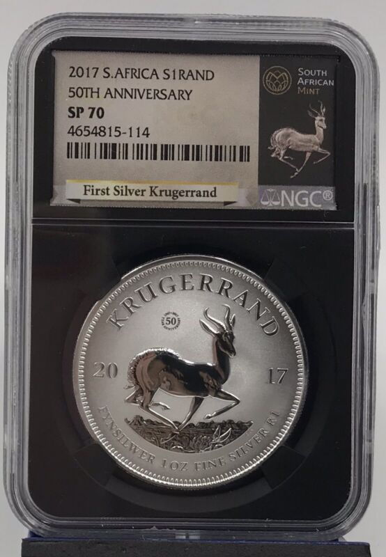 2017 South Africa Silver 1oz Krugerrand 50th Anniversary NGC SP70 (4654815-114)