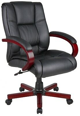 Conference Room Chairs Mid Back Presidents Chair With Wooden Arms Wood Base