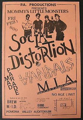 SOCIAL DISTORTION Pomona Valley Auditorium 1985 CONCERT Flyer PUNK Vandals M.I.A